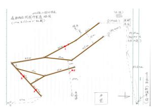 間伐作業道略図(2015.11.8現在)a