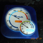 本堂左横のローソク立て中の温度・湿度計