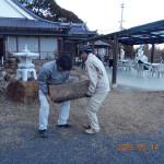 ケヤキの台座移動(乾燥の為)