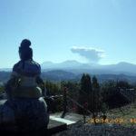 本堂からの景色(新燃岳の噴火)